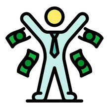 Market Broker Icon. Outline Market Broker Vector Icon Color Flat Isolated