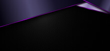 Banner Web Template Abstract Geometric Purple Stripes And Shiny Light On Black Background And Texture