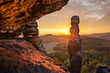 canvas print picture - Sonnenaufgang auf den Pfaffenstein