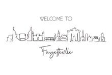 Single One Line Drawing Fayetteville Skyline, Arkansas. Famous City Scraper Landscape. World Travel Home Wall Decor Art Poster Print Concept. Continuous Line Draw Design Graphic Vector Illustration