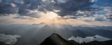 View From The Peak Of The Herzogstand In Bavaria Germany With A Colorful Sunset