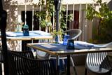 Fototapeta Kawa jest smaczna - terrasse de restaurant en été