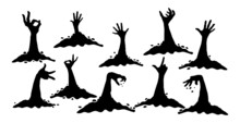 Hands Crawling Out Of The Ground Halloween On A White Background - Vector