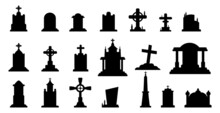 Selection Of Gravestones From The Halloween Cemetery On A White Background - Vector