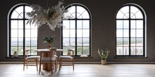 Black Interior Wiht Large Arch Windows And Hanging Flower Cloud Over The Round Table, 3d Render