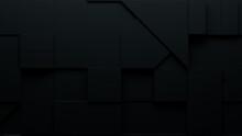Abstract Wallpaper Made Of Interlocking Black Shapes. Tech 3D Render .