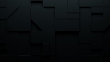 Black 3D Shapes Neatly Organized To Make A Futuristic Abstract Background. 3D Render .