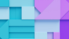 Various 3D Blocks Form A Wall. Turquoise And Purple Futuristic Wallpaper .