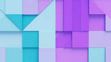 Abstract Background Formed From Purple And Turquoise 3D Shapes. Business 3D Render .