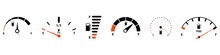 Fuel Gauge Scale And Fuel Meter. Fuel Indicator. Gas Tank Gauge. Speedometer, Tachometer, Indicator Icons. Performance Measurement. White Background. Vector Illustration. EPS 10