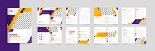 School Education 16 Pages Brochure Template Design, Creative Shapes Layout Kids Premium Vector