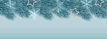 Beautiful Elegant Frosty Christmas Tree Branches With Metallic Stars, Snowflake And Garland Lights. Place For Text. High Quality Illustration. Vector Illustration