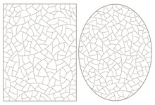Set Of Abstract Backgrounds Contour Stained Glass, Imitation Of Finely Broken Glass,dark Outlines On A White Background, Rectangular And Oval Images