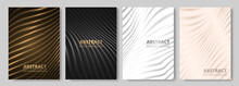 Modern Elegant Luxury Cover Design Set For Flyer Layout, Brochure, Presentation. Vector Luxury Backgrounds Collection With Abstract Wavy Lines Pattern In Gold, Black, White, Silver And Rose Gold Color