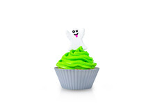 Cupcake With Green Cream In Grey Form With Witch Halloween Decor Isolated On A White Background