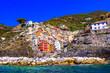 "Leinwanddruck Bild - Colorful fishing village Riomaggiore - National Park ""Cinque terre"" in Liguria, Itlay travel and landmarks"