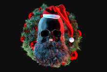 Skull Of Santa Claus On The Background Of A Christmas Wreath. 3D Rendering