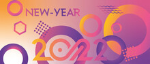 Card Or Banner On A Happy New Year 2022 In Purple And Pink With Geometric Designs Of Several Colors On A Background In Gradient From Yellow To Pink