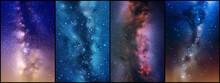 Night Starry Sky And Milky Way. Stars And Nebula. Space Background Set