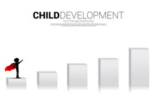 Silhouette Of Boy In Superhero On Bar Chart. Concept Of Education Start And Future Of Children.