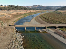 Photos Of The Hidden Bridge At Folsom Lake. Usually Submerged Under 60 Feet Of Water This Bridge Is Visible Due To The Severe Drought In California.