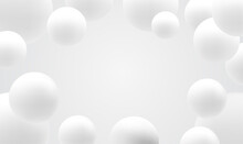 Snowy White Balls. White Ball Abstract Background. Realistic 3d Background With Organic Spheres. Abstract Background With Dynamic 3d Spheres. Trendy Cover Or Banner Design Template. Vector EPS10.