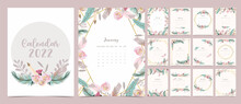 2022 Table Calendar Week Start On Sunday With Feather And Flower That Use For Vertical Digital And Printable A4 A5 Size