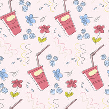 Abstract Pattern With Cups, Ice Cubes, And Flowers And Wavy Lines. Seamless Vector Pattern.