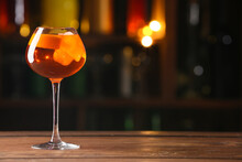 Glass Of Tasty Aperol Spritz Cocktail On Table