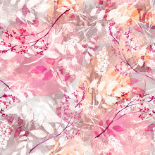 Watercolor Seamless Pattern, Background With A Floral Pattern. Watercolor Background, Drawing With Autumn With Forest Flowers, Leaves, Plants, Berries Branch. Abstract Paint Splash. Bush, Wild Grass