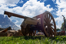 Old Vintage Gunpowder Cannon On Wooden Carriage
