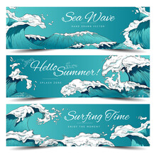 Set Of Marine Nautical Banners Or Flyers With Large Waves, Vector Illustration.