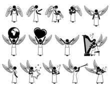 Female God Angel Stick Figure Pictogram Icons. Vector Illustrations Depict A Female Angel With Wings Character Designs, Holding A Child, Earth, Love, And Playing Different Musical Instruments.