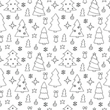 Christmas Trees Simless Pattern Vector Illustration Hand Drawing Doodles