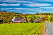 Amazing Colors Of New Hampshire Countryside During Foliage Season, USA.