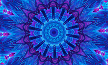 Blue Glowing Mandala Fractal, Computer Generated Abstract Background