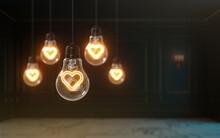 3d Rendering Love Icon Glow Inside Light Bulb Premium Cover Photo Background For Social Media Post