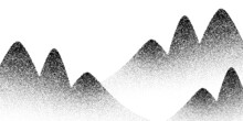 Dotwork Mountain Trees Background. Black Noise Stipple Dots Hills. Sand Grain Effect Forest Trees. Dots Grunge Banner. Abstract Noise Dotwork Pattern. Stipple Circles Hills. Dotted Mountain Vector.