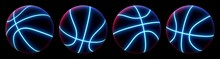 Set Of Abstract Basketball Balls In Different Views With Glowing Neon Blue Seams And Blue-pink Studio Backlight. Futuristic Sport Concept. 3d Rendering