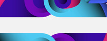 Abstract Background. Minimal Geometric Circles And Round Style Shapes With Deep Shadow Effects. Trendy Technology Business Template For Wallpaper Banner Or Background