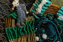Mermaid Fashion With Jewelry And Fishing Net Close Up