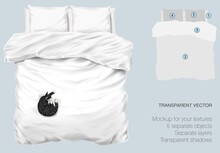 Vector Blank White Bed Mock Up For Your Design And Fabric Textures. Pillows And Blanket With Transparent Shadows. Gray Cat Slipping On The Bed. View From The Top