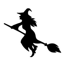 Vector Black Silhouette Of A Witch Riding A Broomstick Isolated On A White Background.