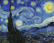 Starry Night, Altered From Public Domain Famous Painting By Vincent Van Gogh Edited Using Oil Painting Filter In Photo Software