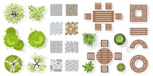 Vector Set For Landscape Design Top View. Collection Of Outdoor Wooden Furniture, Plants, Trees, Tile. Architectural Elements In Flat Style. Tables, Benches, Chairs. Isolated Vector Illustration.