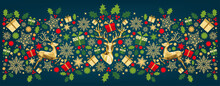 Christmas Pattern With Lettering And  Colorful   Tree Decoration.