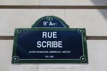Rue Scribe. Auteur Dramatique. Membre De L'Institut. 1791-1861. Plaque De Nom De Rue. Paris.