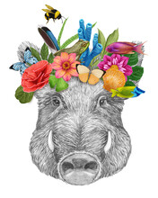 Portrait Of Boar With A Floral Crown.  Flora And Fauna. Hand-drawn Illustration, Digitally Colored.
