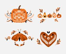 Folky Fall Beautiful Illustration Of A Folk Style Fall Pumpkin Vector