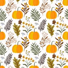 Thanksgiving Autumn Decorative Seamless Pattern With Pumpkins And Botanicals